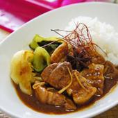 豚とチンゲン菜の中華風カレー